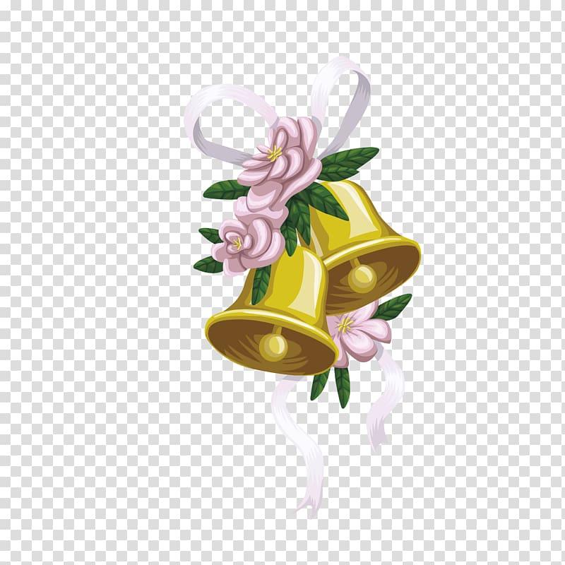 Yellow bells illustration, Wedding invitation Bridegroom.