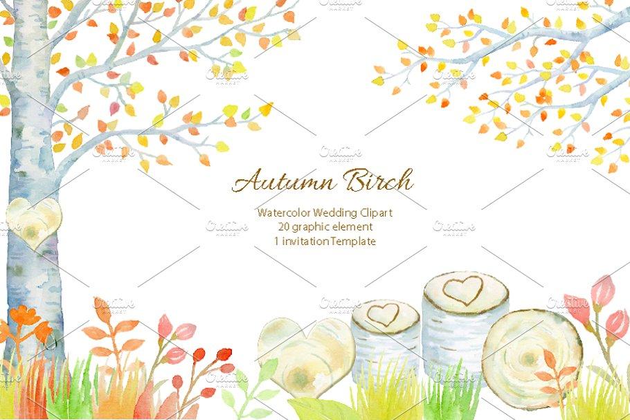Wedding Autumn Birch Tree ~ Illustrations ~ Creative Market.