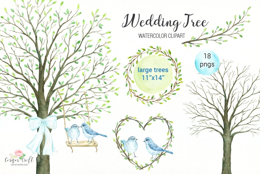 Wedding Tree Watercolor Clipart ~ Illustrations ~ Creative.