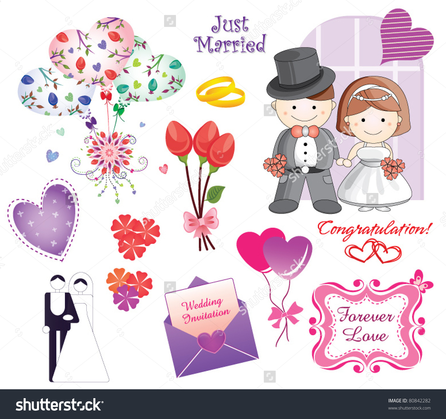 Cute Colorful Wedding Clip Art Set Stock Vector 80842282.