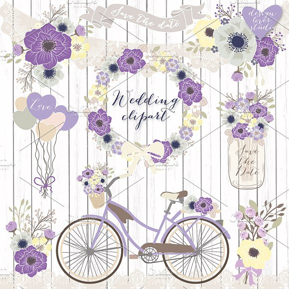 Vector Bicycle wedding clipart ~ Illustrations on Creative Market.