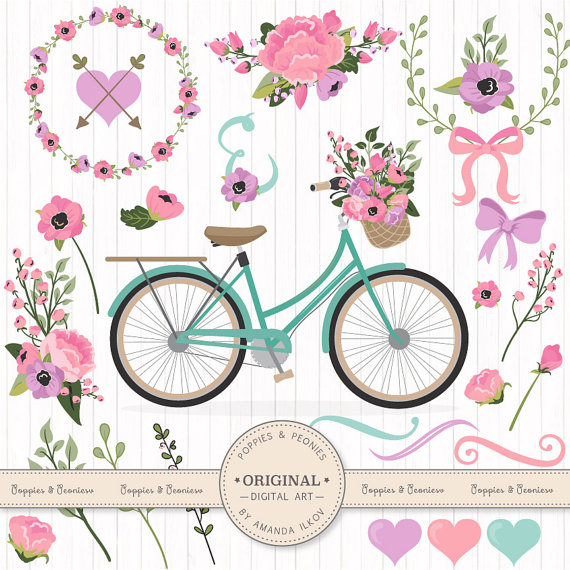Premium Wedding Clipart & Vectors Garden Party Bicycle.