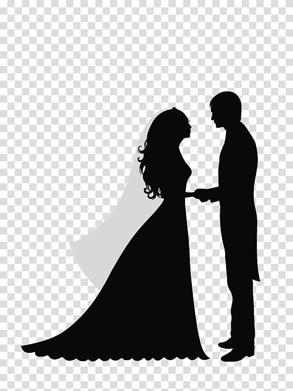 Bride and groom holding hands illustration, Wedding.