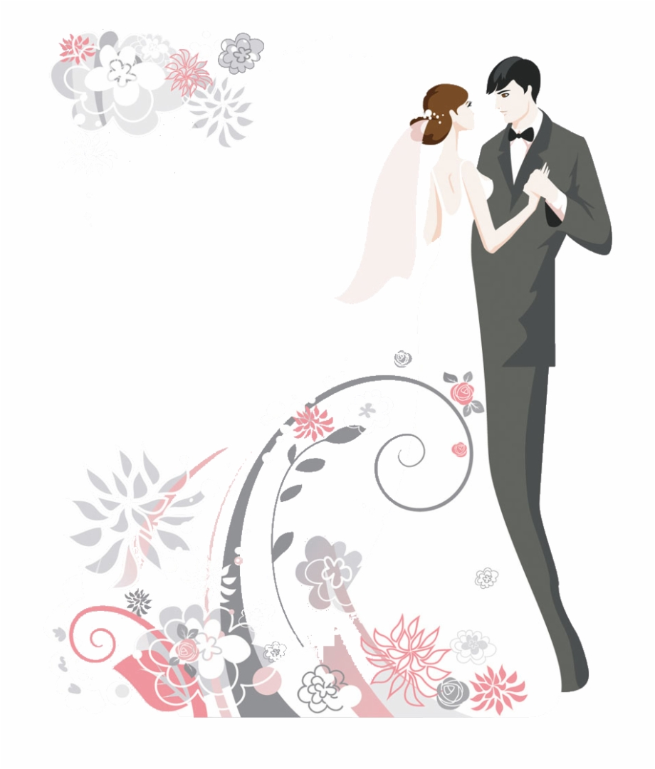 Wedding Invitation Cake Clip Art Cartoon Couple Wedding.