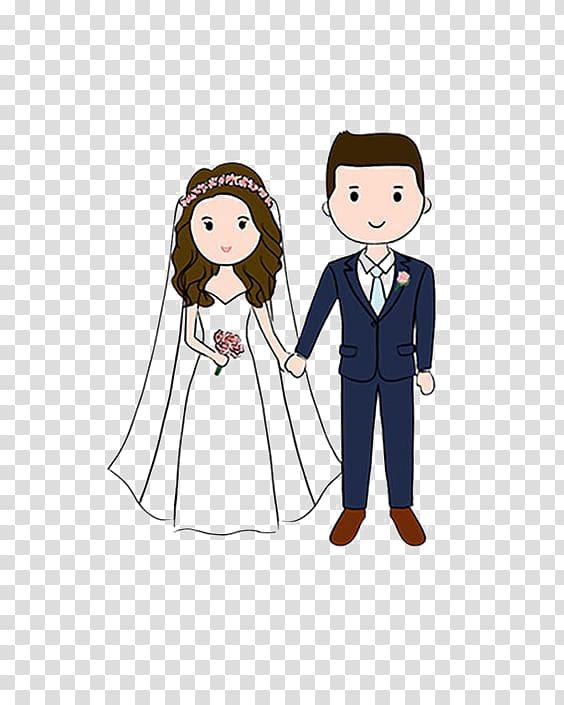 Couple wedding , Wedding invitation Cartoon Drawing couple.