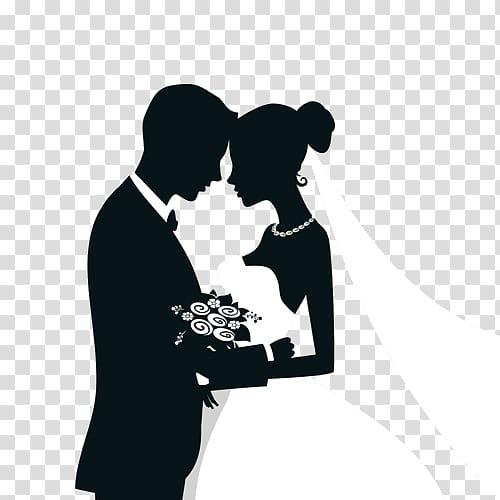 Black and white wedding couple illustration, Wedding.