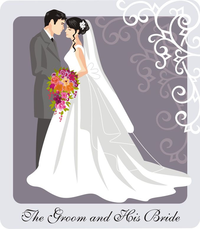 Wedding Couple Illustration and Clip Art by.