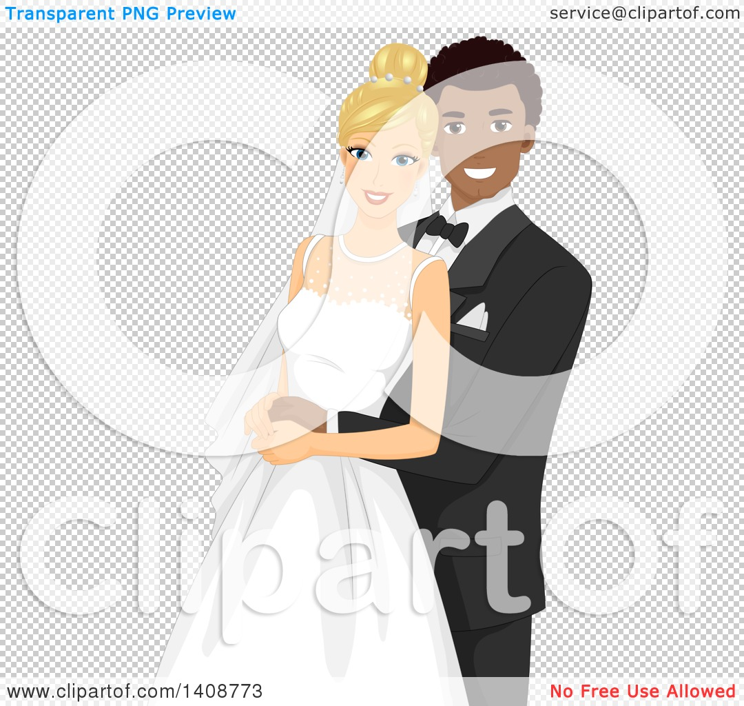 Clipart of a Happy Interracial Wedding Couple.