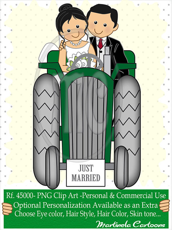 Wedding Couple Tractor Clipart.
