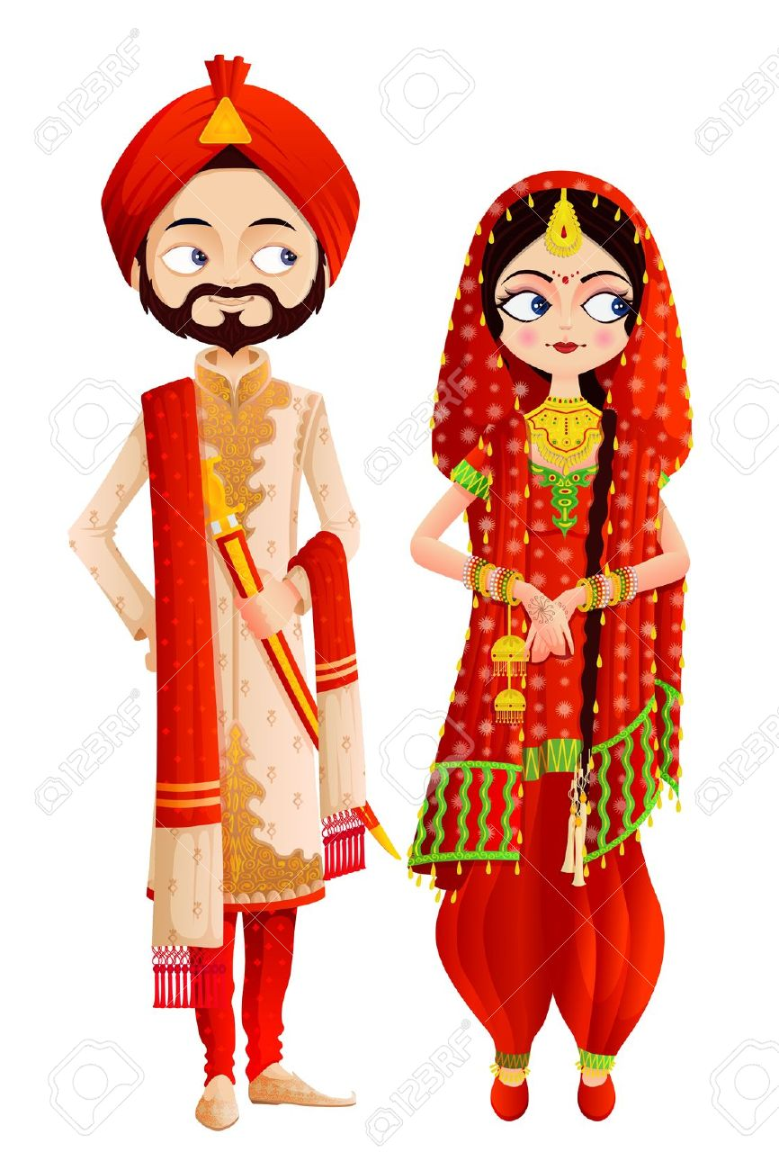 Punjabi Wedding Couple Clipart.