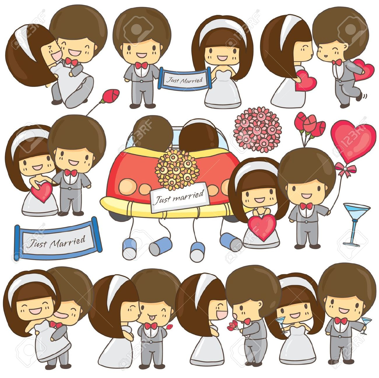 Cartoon Wedding Couple Clipart.