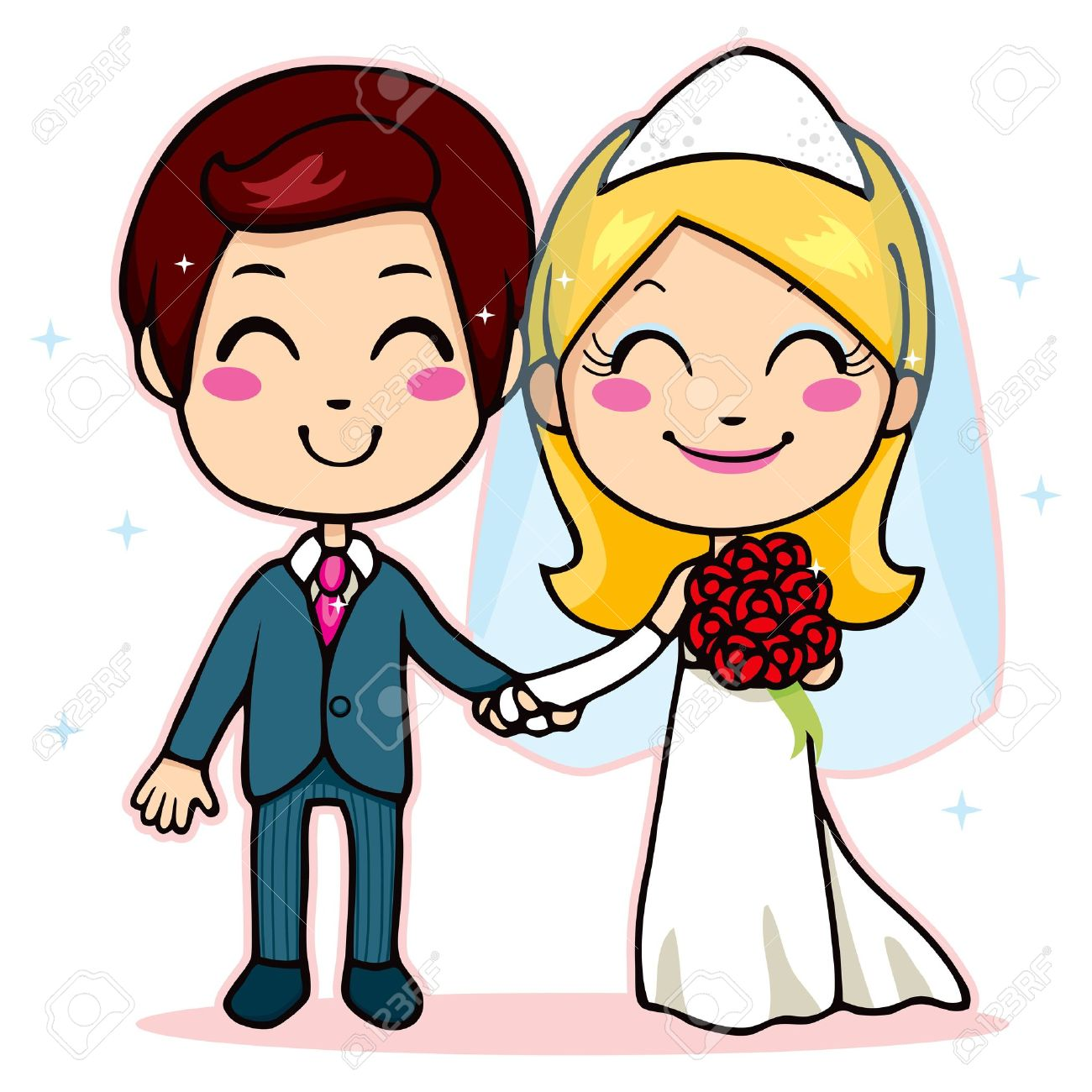 Cute Wedding Couple Clipart.