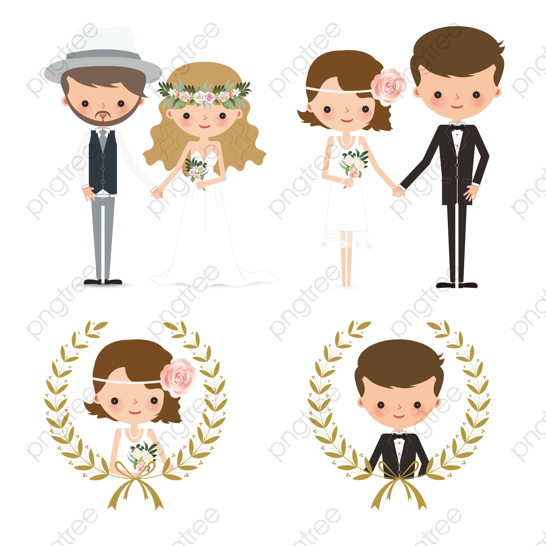 Creative Wedding Couple Figures, Wedding Clipart, Character.