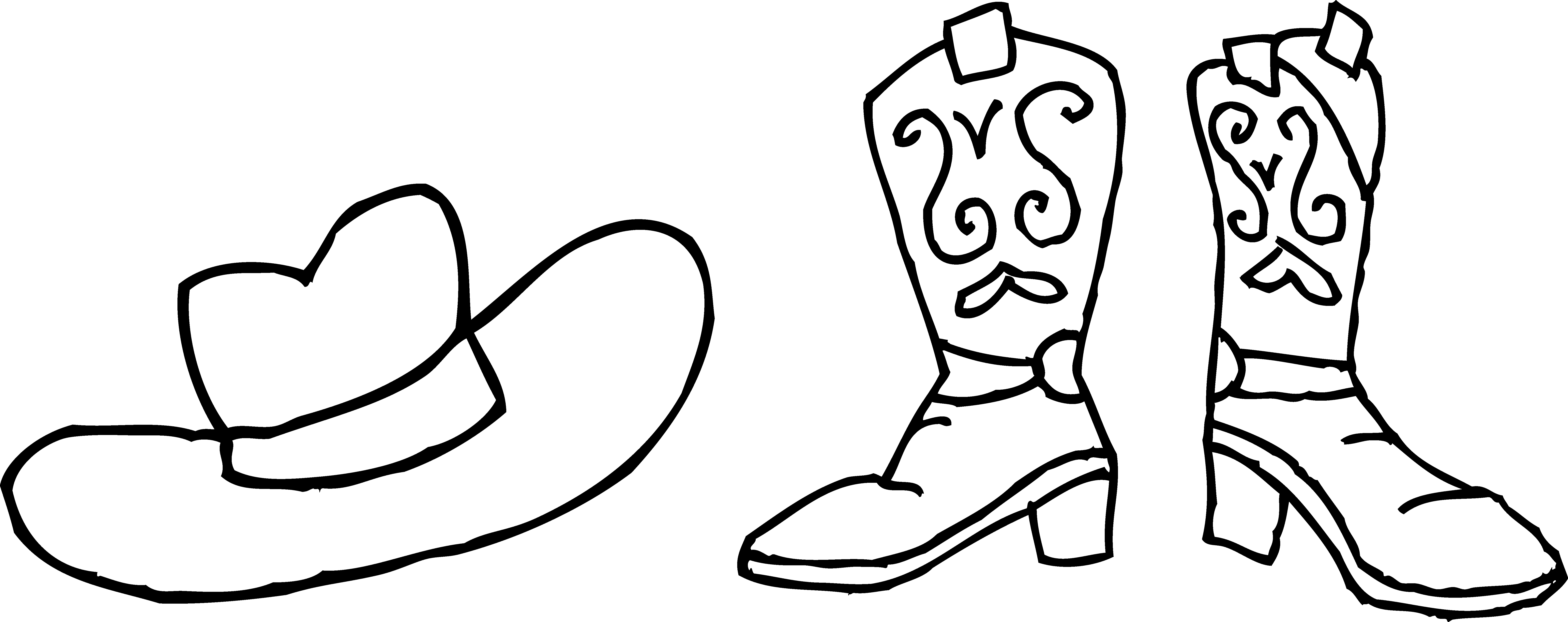 Printable coloring pictures of cowboy boots - Cow Boy Boots Black Adn White Clipart