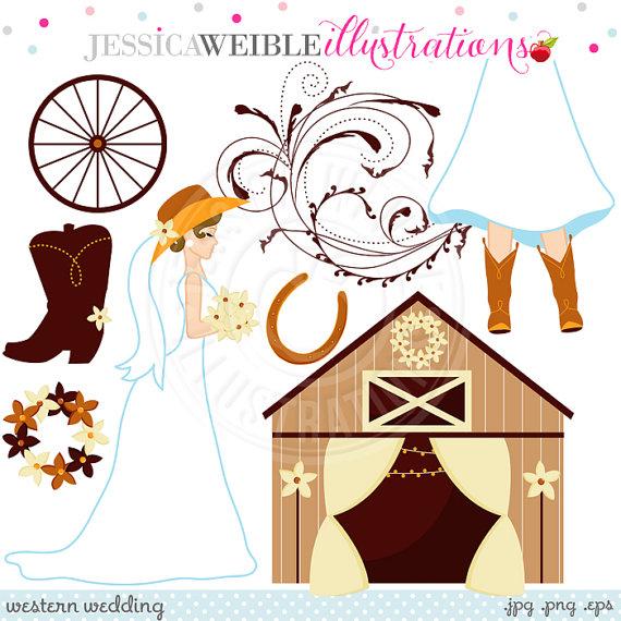 Western Wedding Cute Digital Clipart.