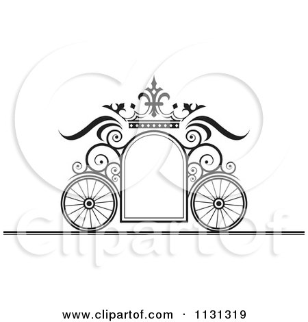 Clipart of a Gold Crown and Wave Wedding Frame.