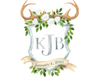 Items similar to Watercolor wedding crest, hand painted custom.