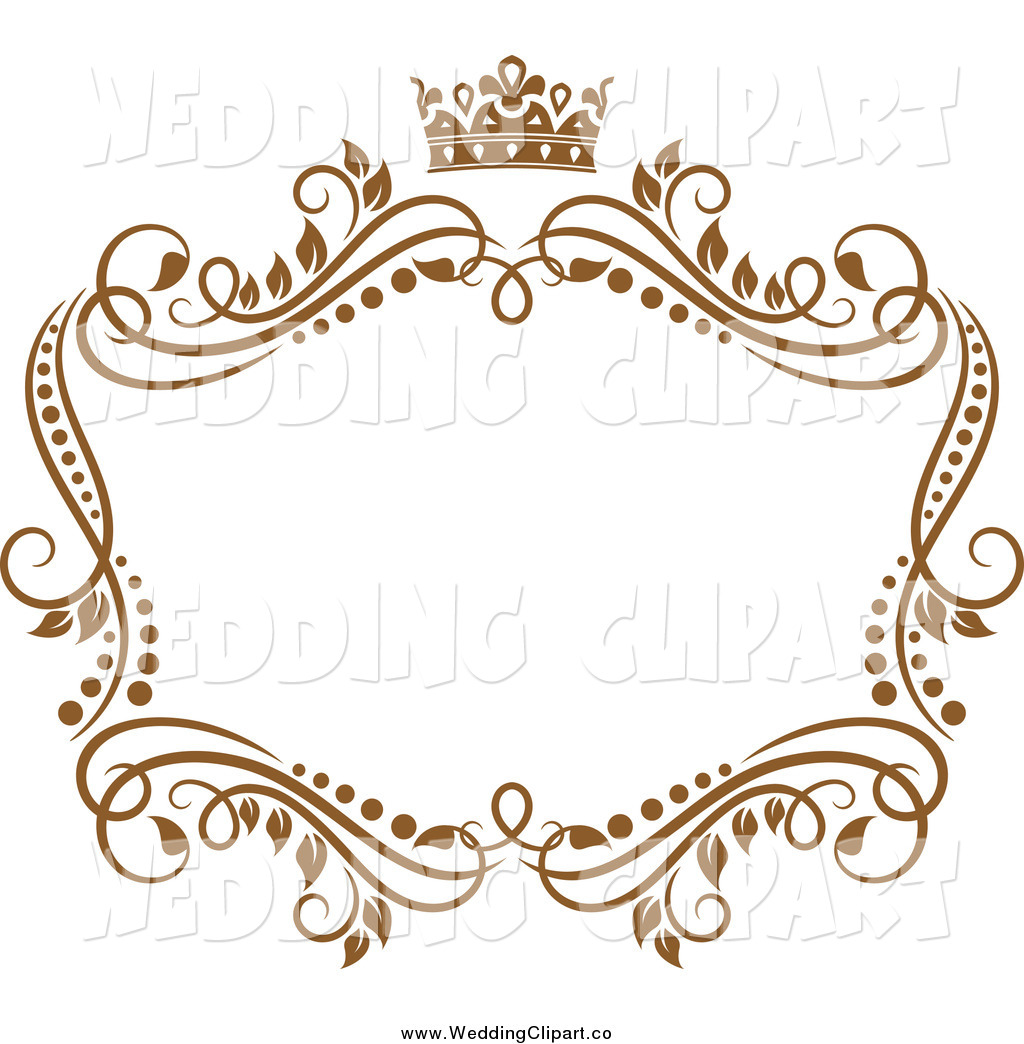 Vector Marriage Clipart of a Golden Vine Wedding Frame with a.