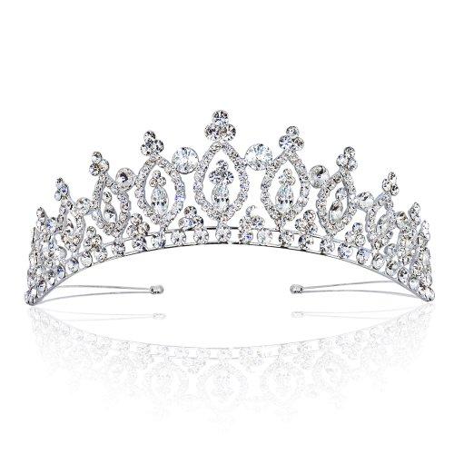 Sparkly Bride Tiara Royal Marquise Rhinestone Crown Bridal Wedding Hair  Accessory Headpiece.
