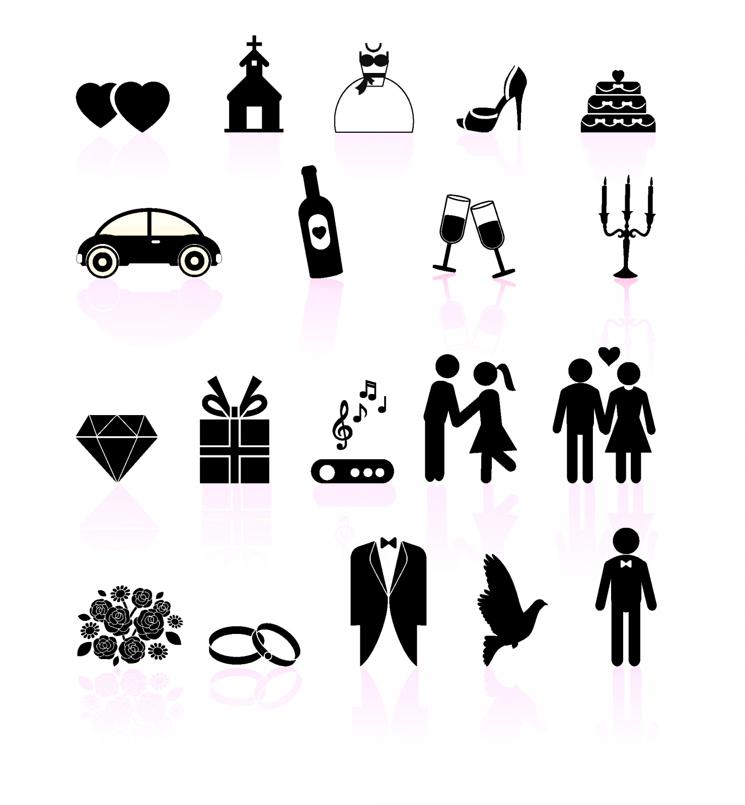 Wedding day black and white set icons Free Vector.