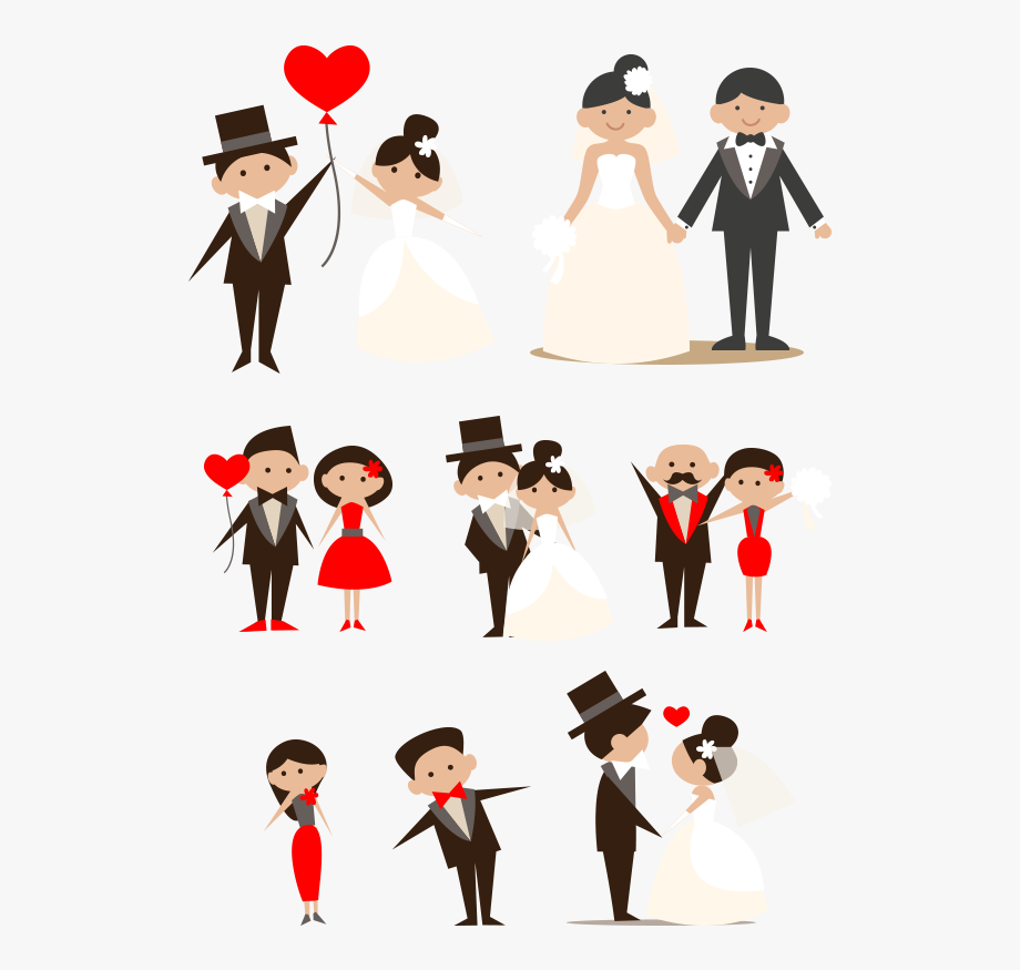 Cartoon Couple Clip Art Hand Drawn Bride.
