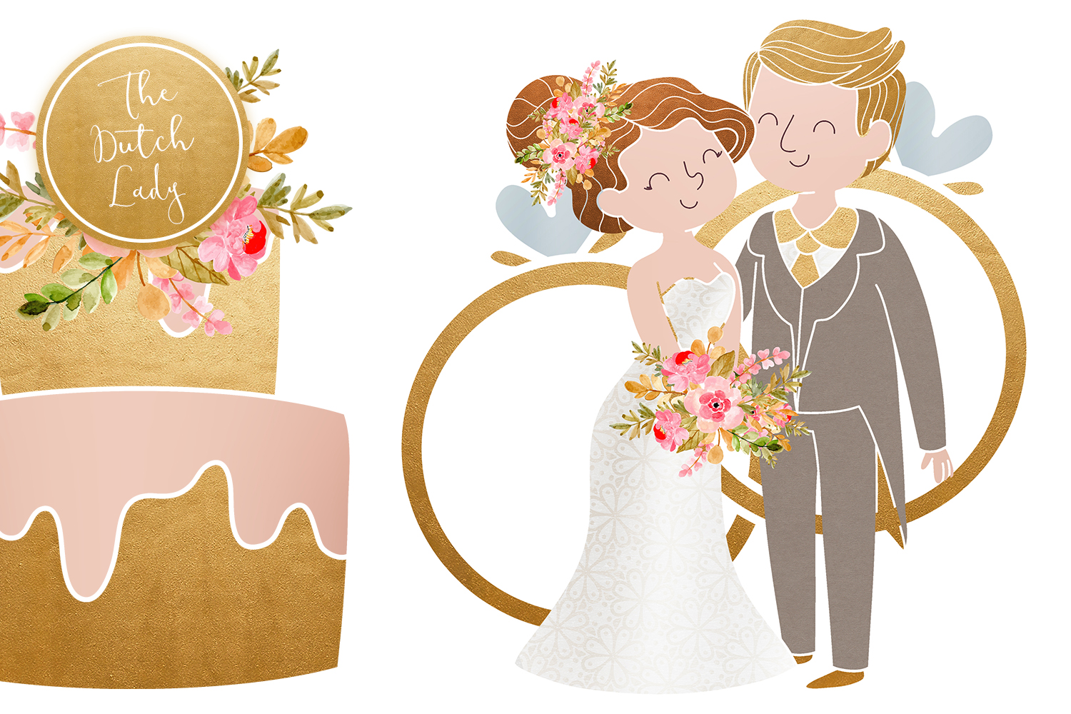 Wedding Day & Marriage Clipart Set.