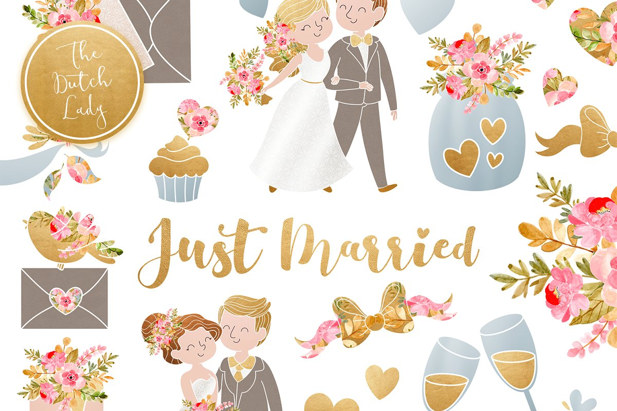 Wedding Day & Marriage Clipart Set ~ Illustrations.