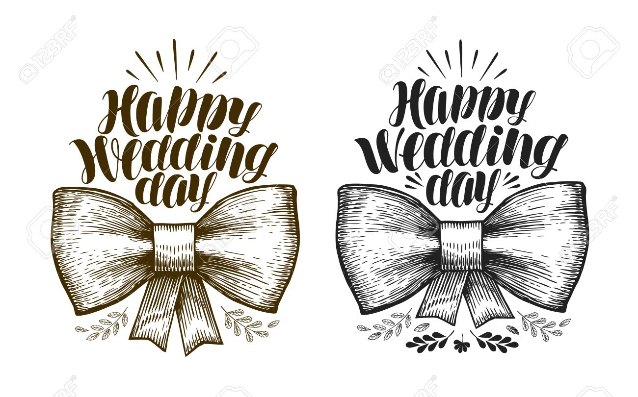Happy Wedding day, label. Marriage, wed banner. Lettering.