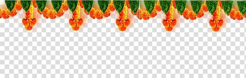 Orange and green flower decor, Wedding invitation Decorative.