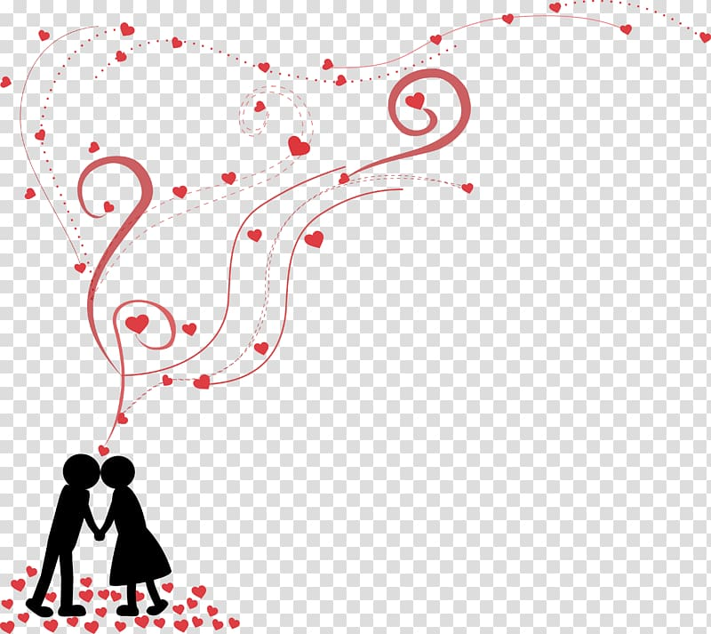 Silhouette couple with hearts illustration, wedding.