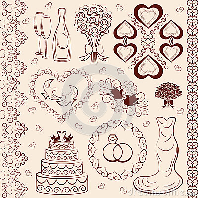 Vector Clipart Wedding, Wedding Decorations Royalty Free Stock.