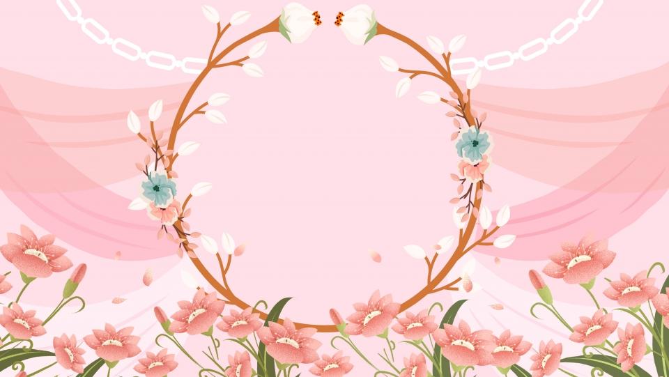 Pink Romantic Wedding Flower Border Background Design, Pink.