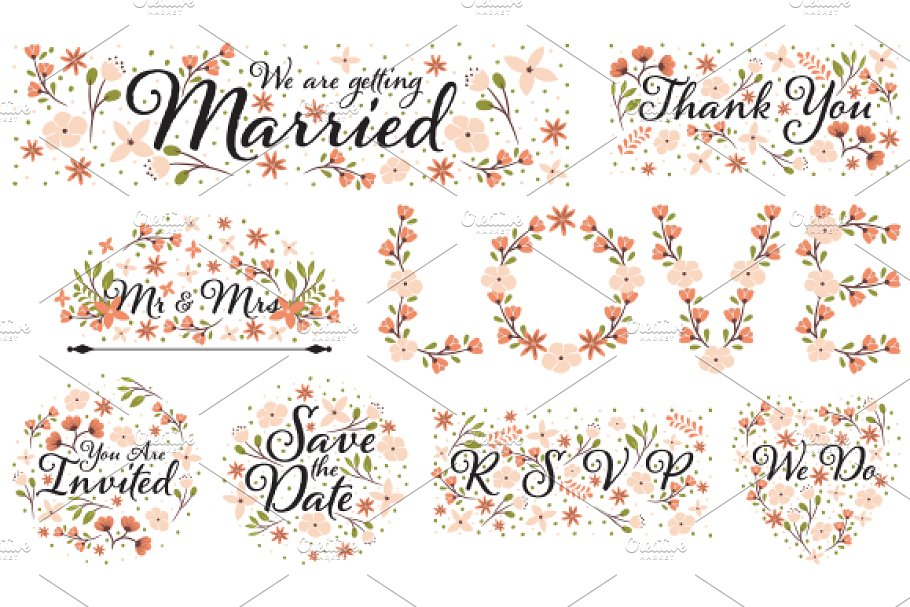 Wedding Clipart Designs PNG and EPS ~ Illustrations.