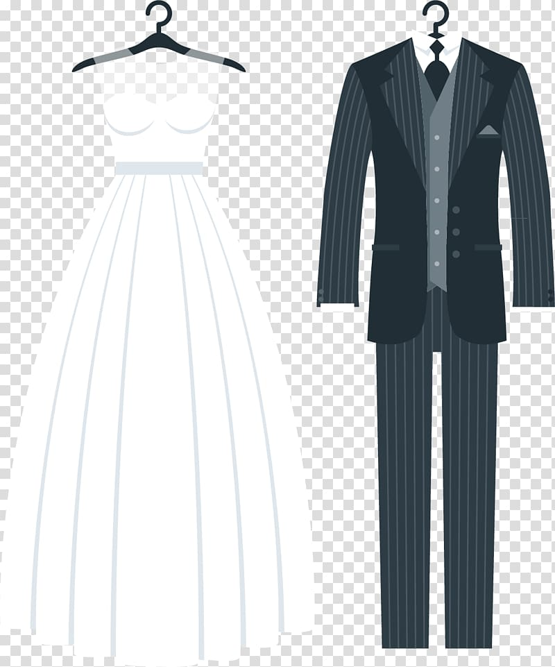 White bridal gown with groom suit, Wedding invitation Tuxedo.