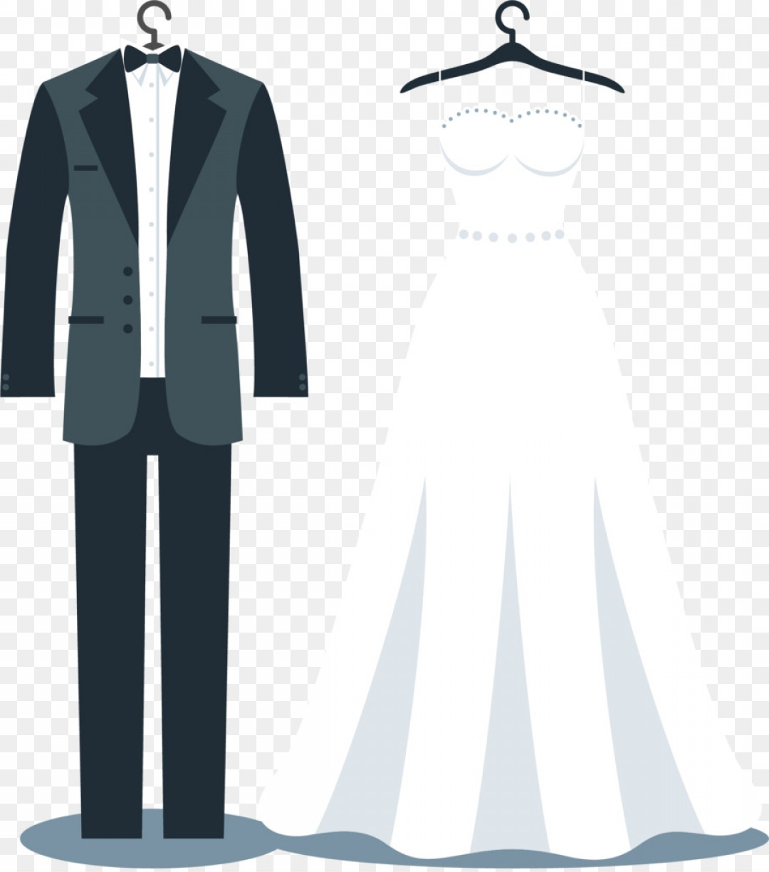 Wedding Dress And Suit Vector.