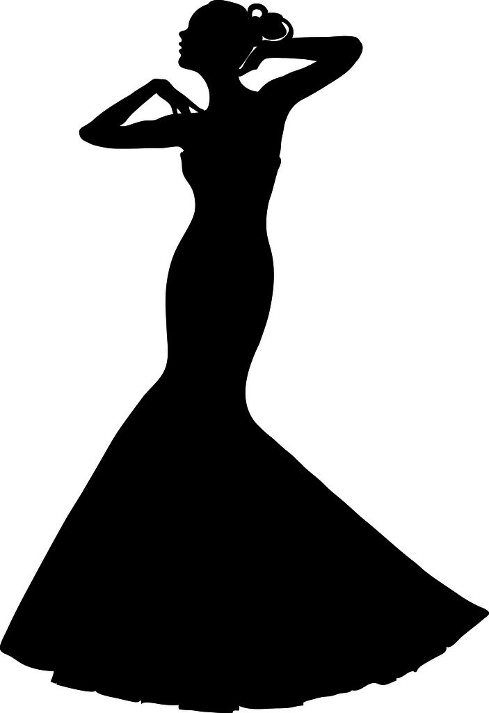 Clip Art Illustration of a Spring Bride in a Strapless Gown.