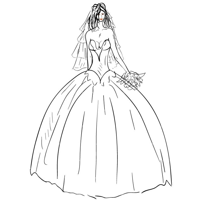 Wedding dress clipart black and white 5 » Clipart Portal.