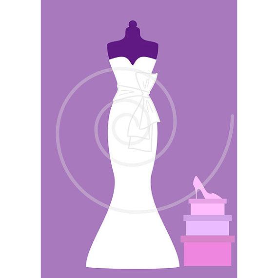 White wedding dresses, digital clip art set, bride, bridal.