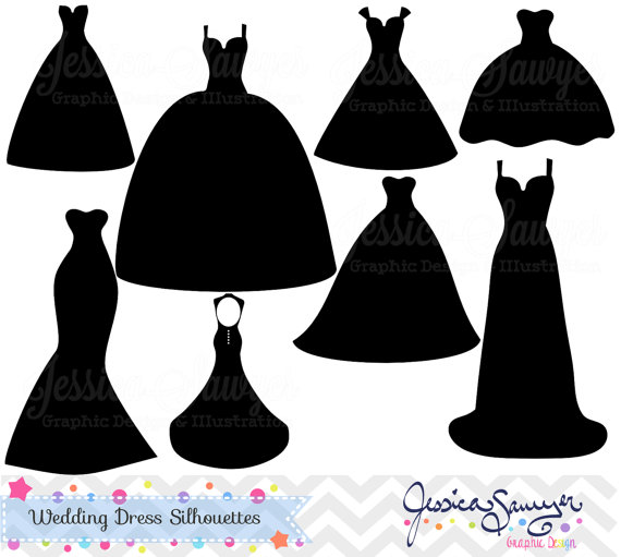 INSTANT DOWNLOAD, wedding dress clipart, silhouette clipart.