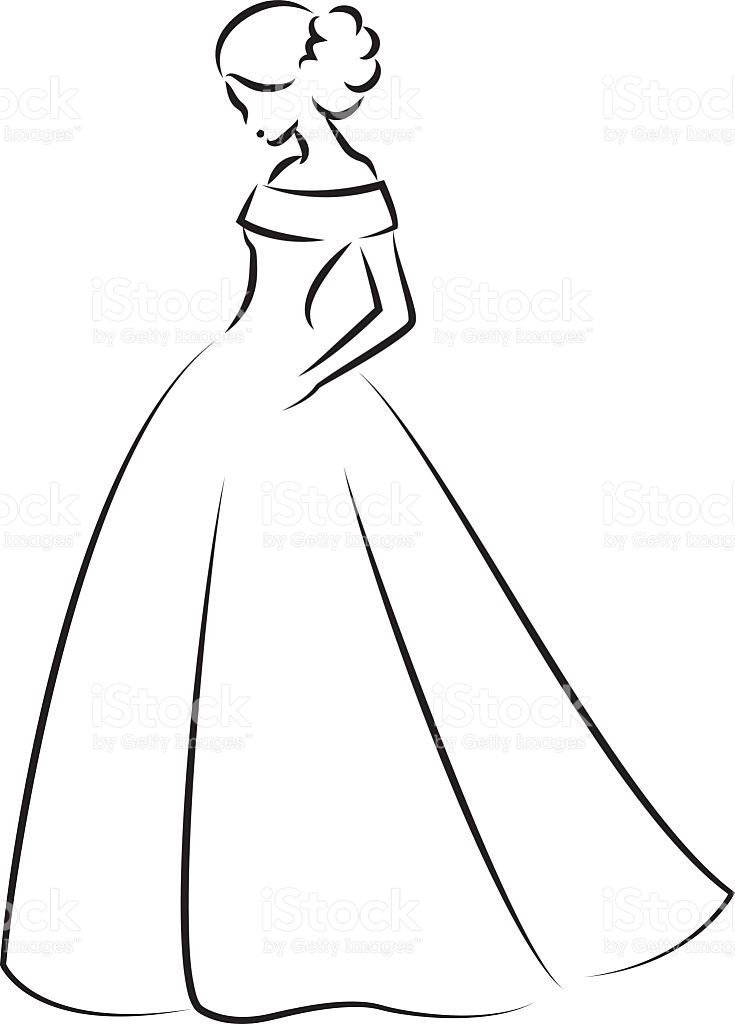 Wedding Dress Clipart Outline.