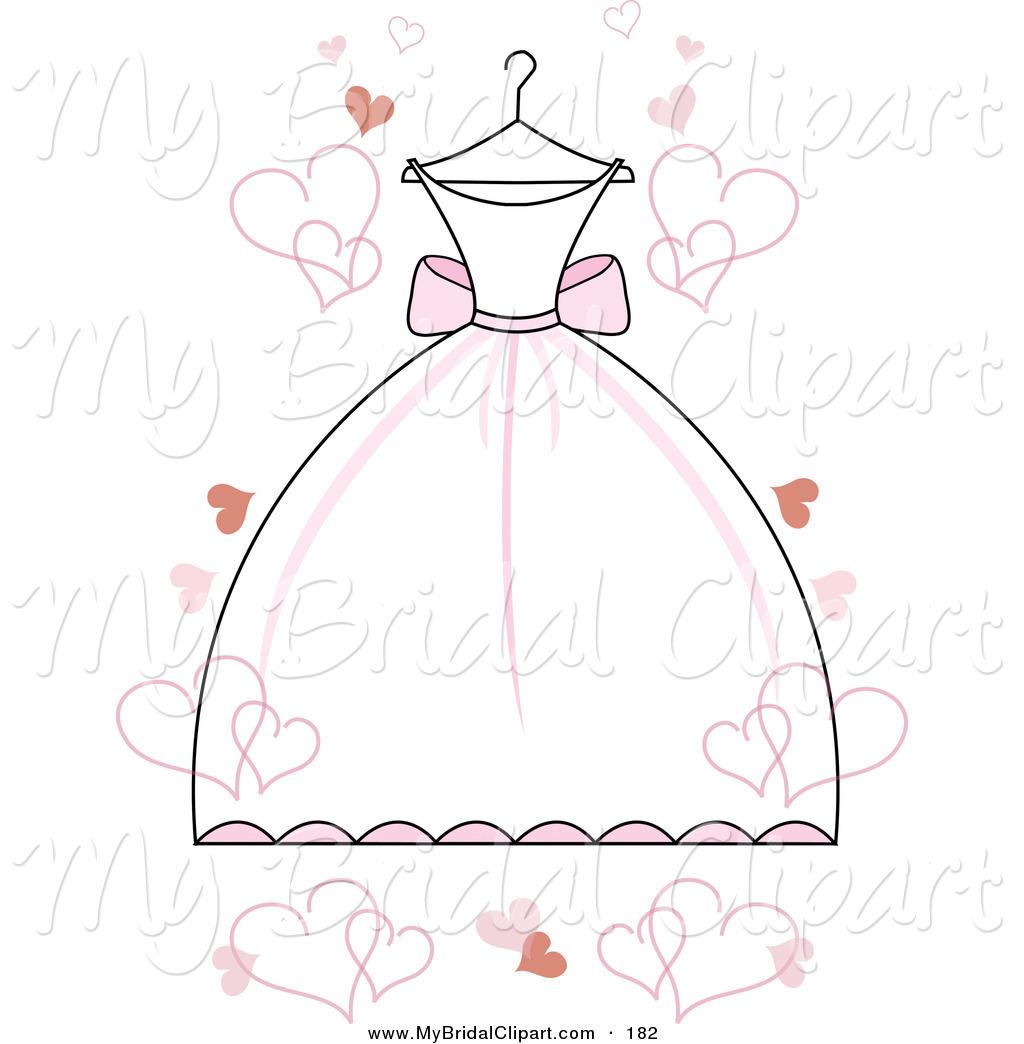 Pink Wedding Dress Clipart.