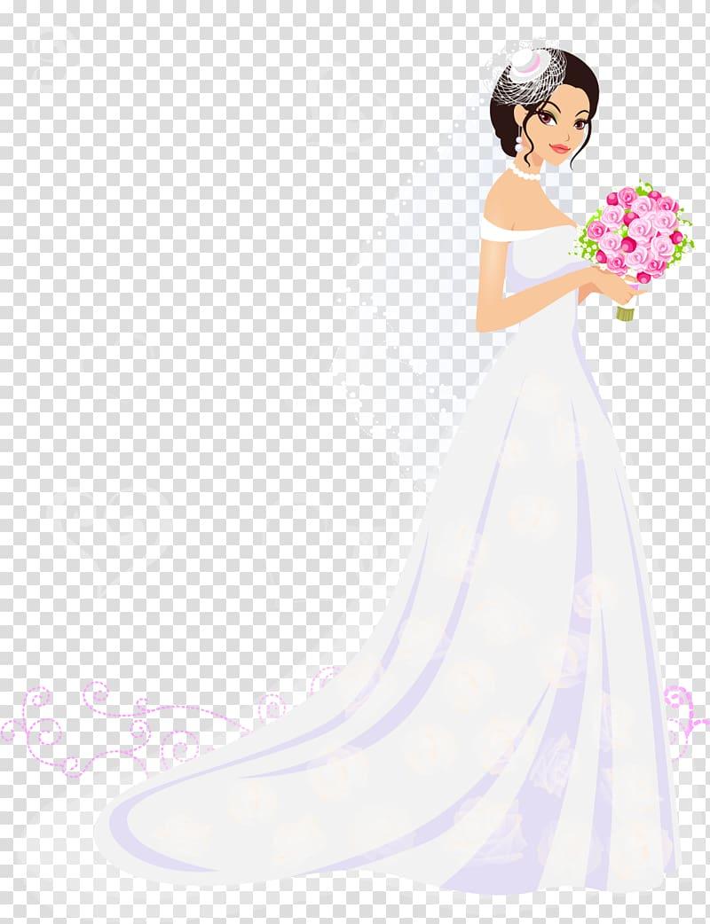 Woman in white wedding gown illustration, Bride Wedding.