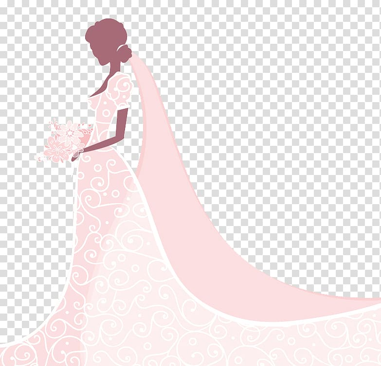 Woman in pink floral wedding gown illustration, Gown Beauty.