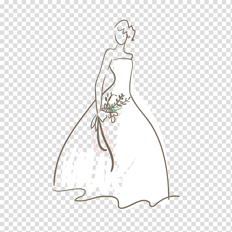 Women\'s white strapless wedding gown illustration, Wedding.