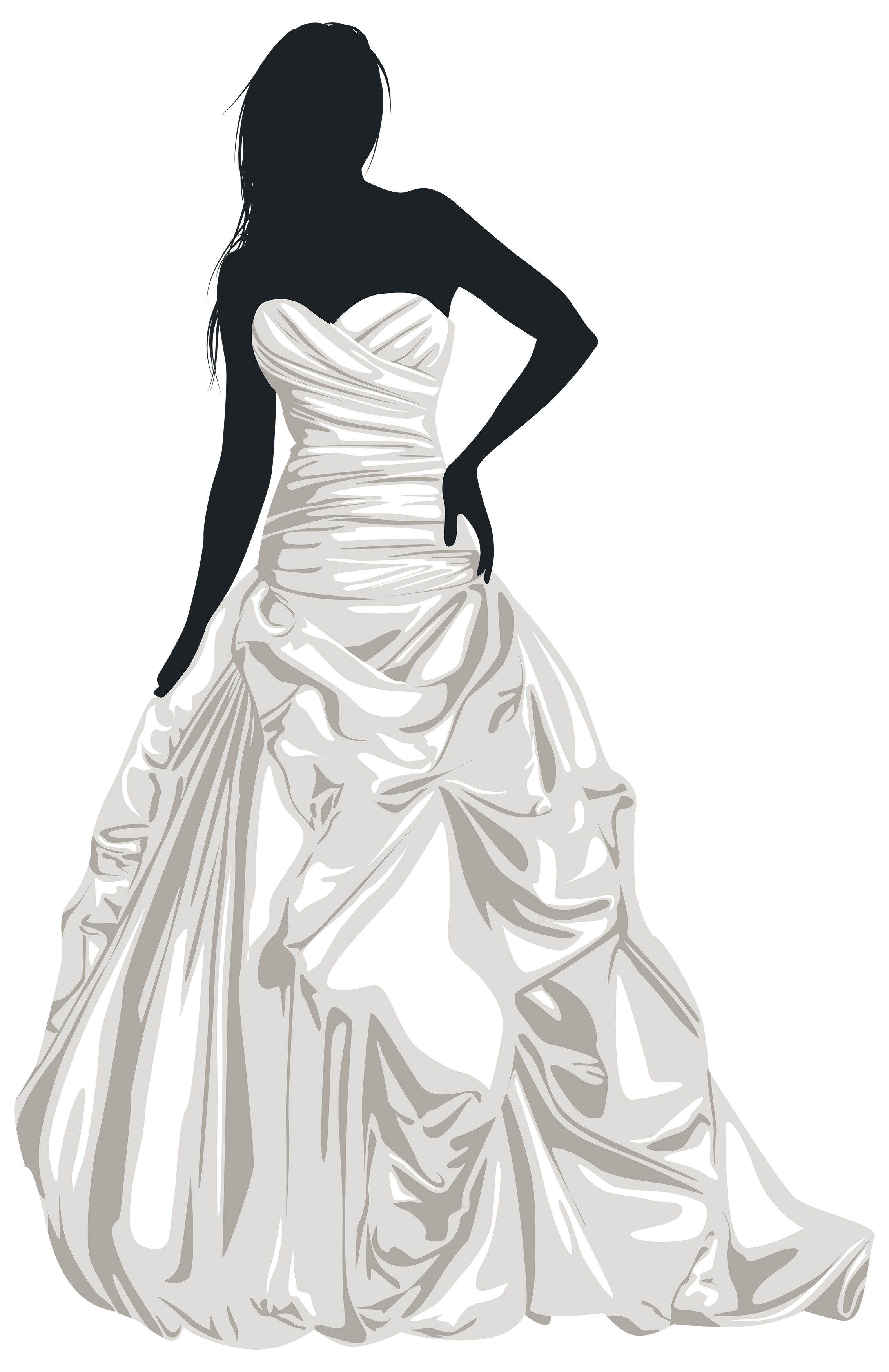 Bride Silhouette Wedding dress Clip art.