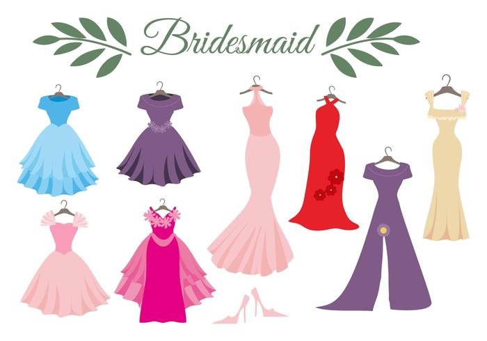 Free Wedding Dress Bridesmaid Vector.
