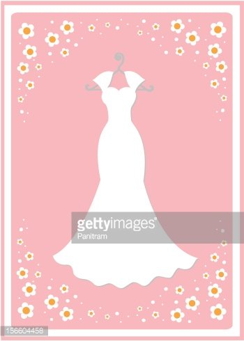Wedding dress on hanger Clipart Image.
