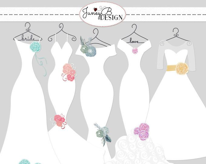 Wedding Dress Clipart, Dress silhouettes.