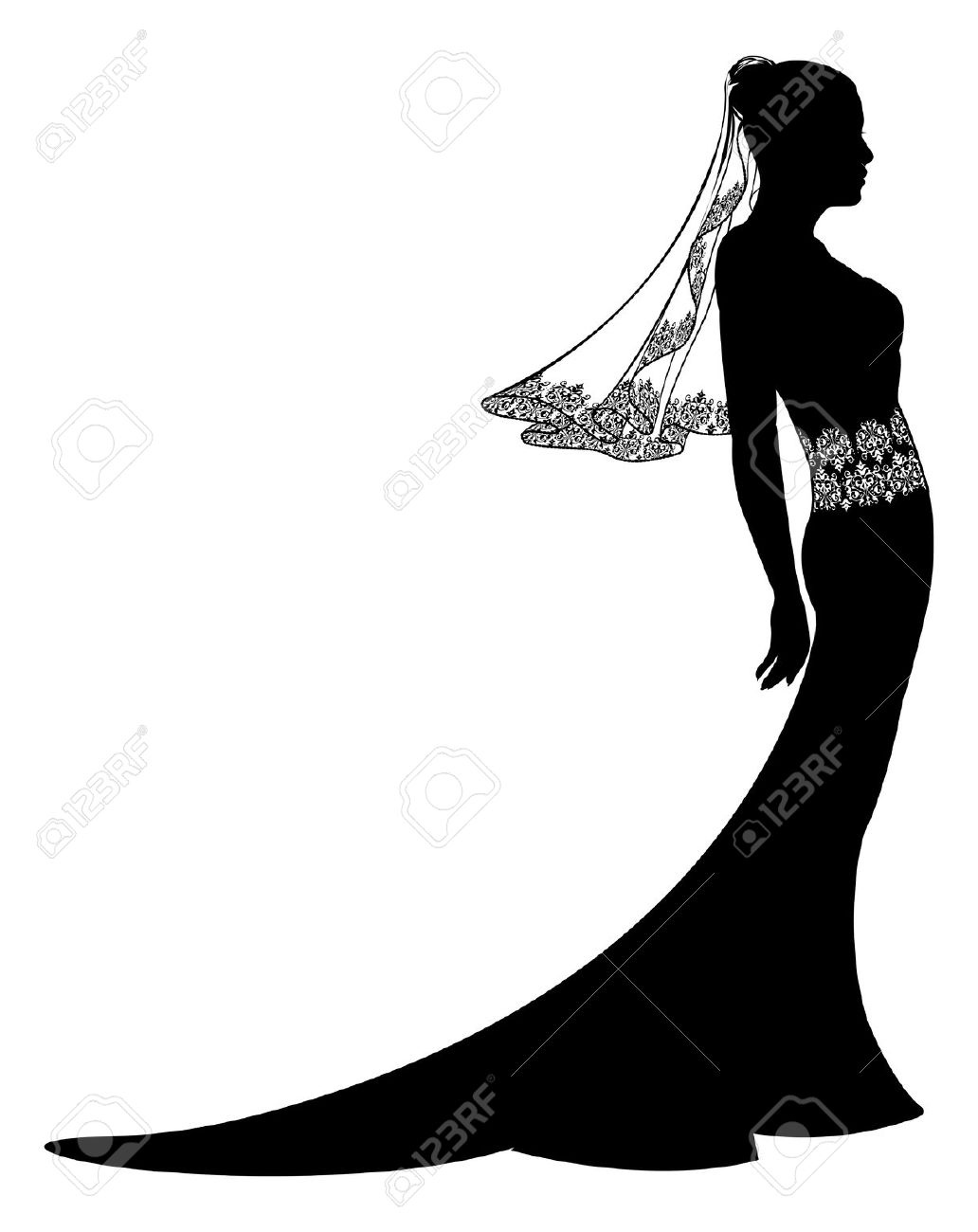 6,408 Wedding Dress Silhouette Cliparts, Stock Vector And Royalty.