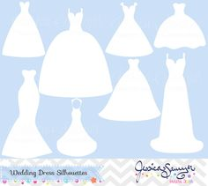 INSTANT DOWNLOAD, bridesmaid dresses silhouettes clipart.